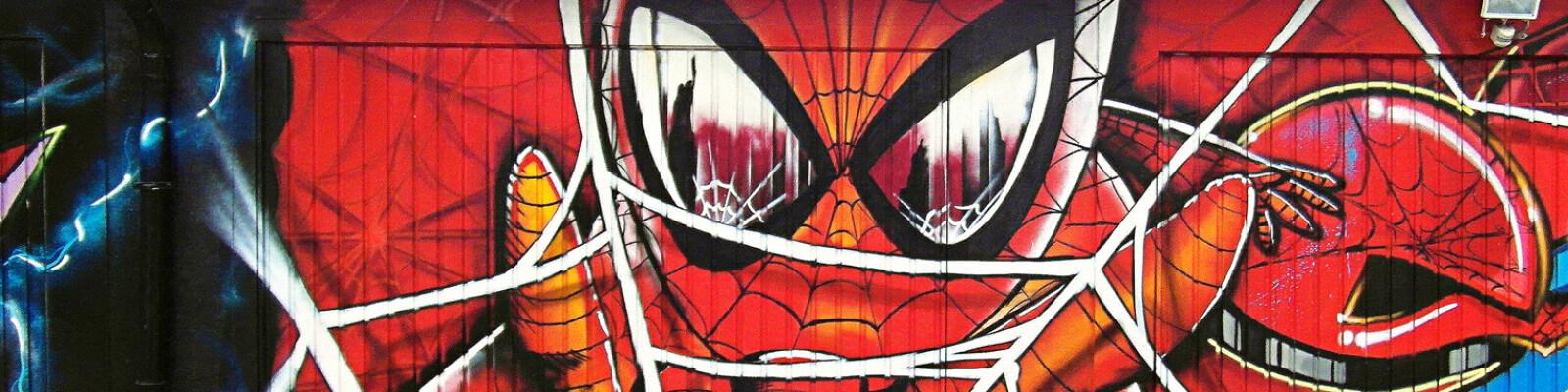 Graffiti Spiderman auf einer Garage in Gelsenkirchen