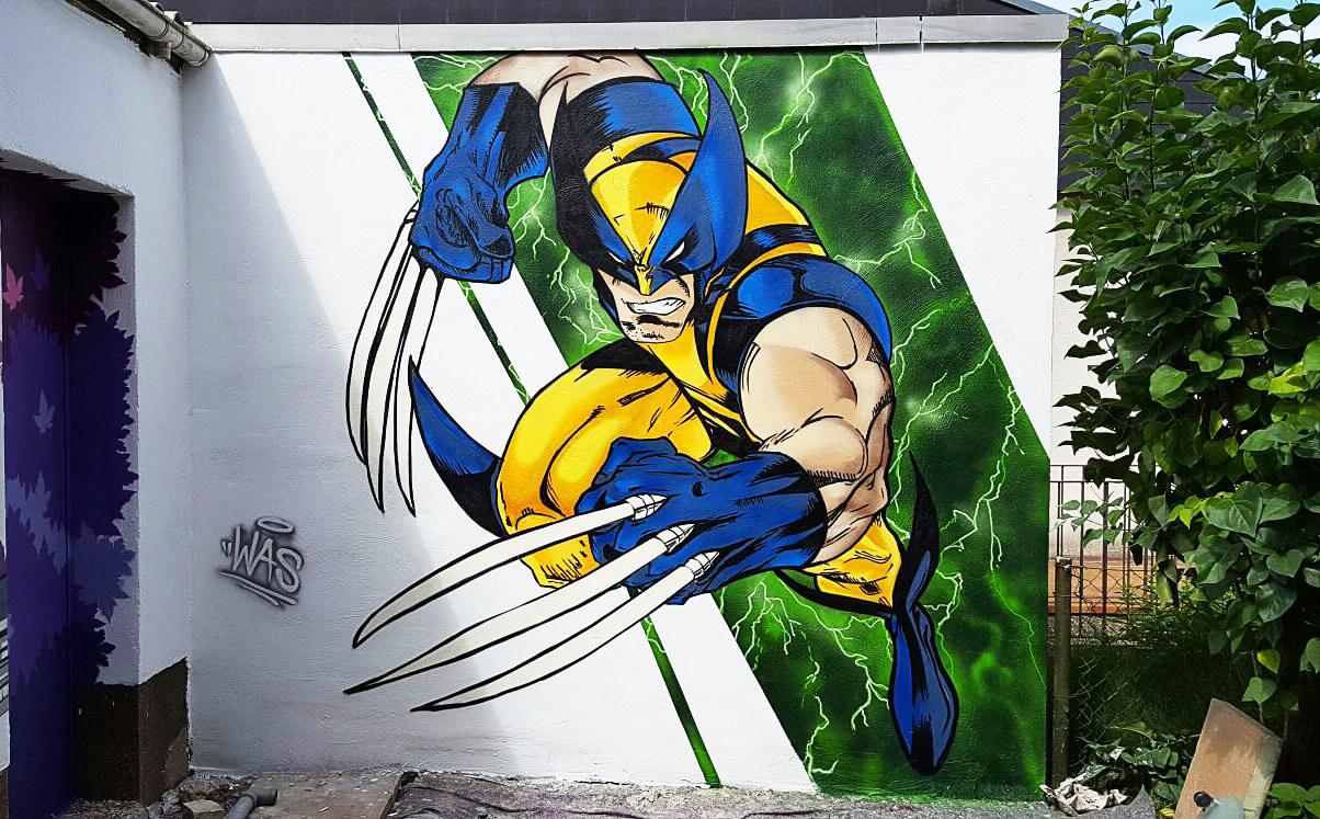 Wolverine X-Men Graffiti Garagenwand Sprüher