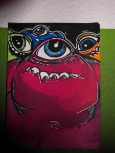Graffiti auf Leinwand kleine süße Monster
