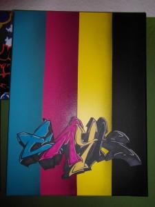 Graffiti auf Leinwand CMYK