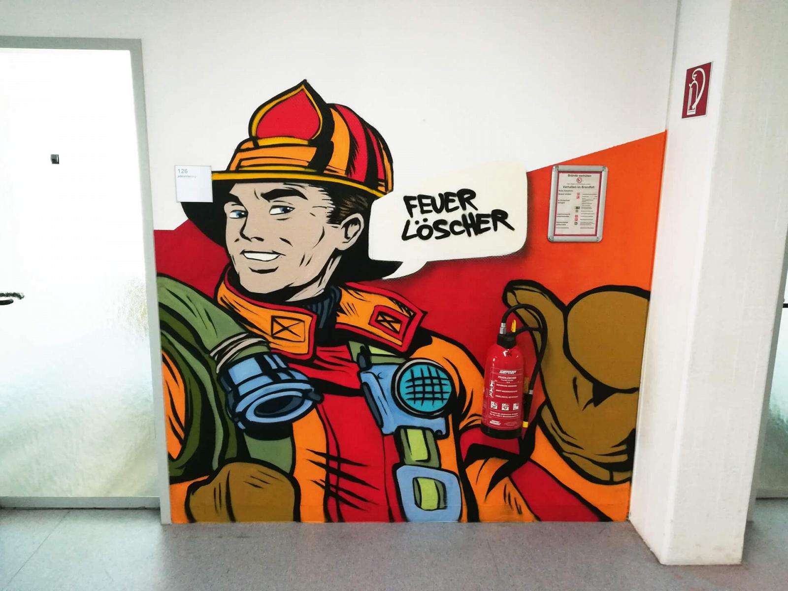 Feuerwehrmann Graffiti Job Center Oberhausen