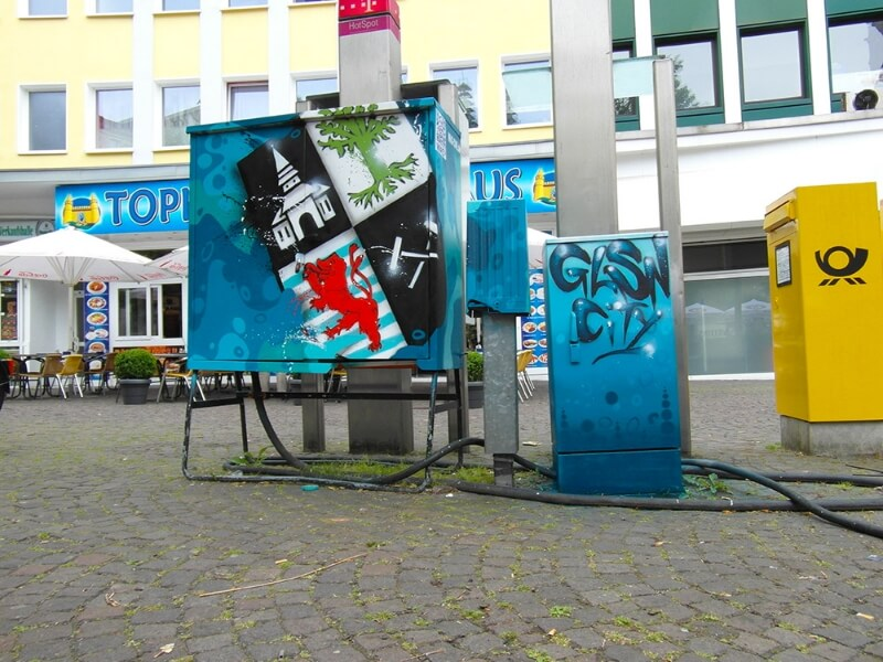 Gelsenkirchen bunter machen - Graffit an Stromkästen in Gelsenkirchen Gelsenkircherner Wappen
