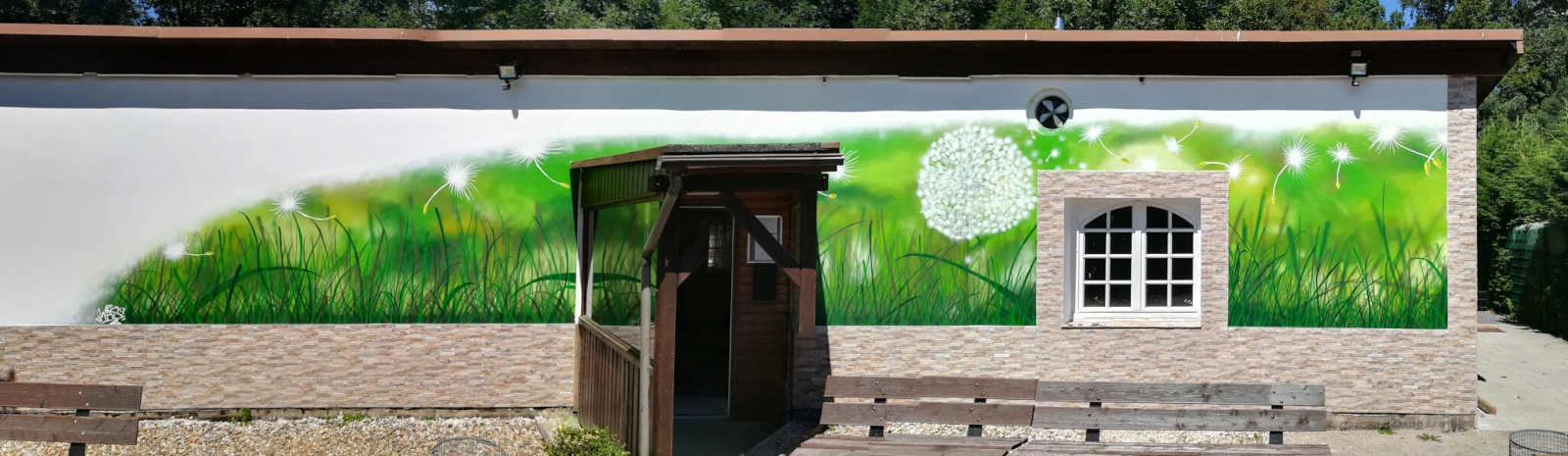 Graffiti Garten Pusteblume Wiese Essen
