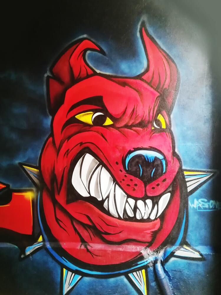 Graffiti Hund Gelsenkirchen Ückendorf Einfahrt rot