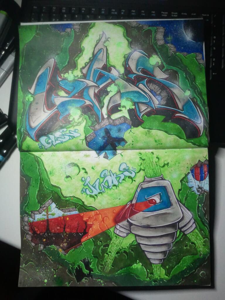 Graffiti im Blackbook mit einem Roboter