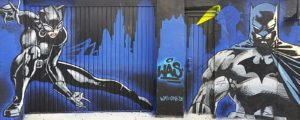 Graffiti Gelsenkirchen Batman Catwoman Gotham-Skyline