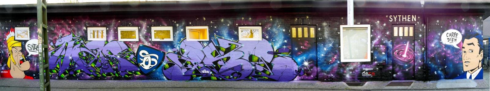Graffiti in Haltern Systen Bahnhof Gestaltung Carpe Diem Römer