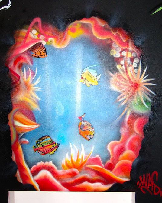 Graffiti beim Friseur Headfactor Gelsenkirchen Haare Aquarium