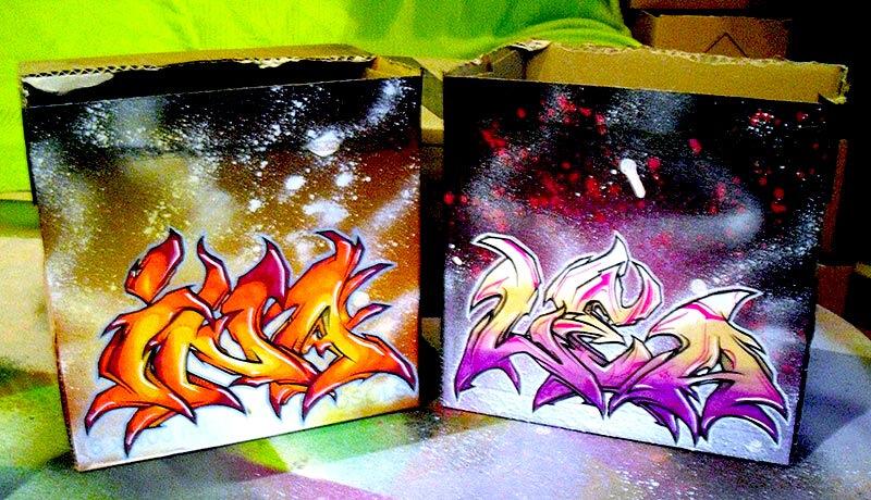 Graffiti auf Karton Lea und Ina