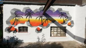 Palmen Sonnenuntergang Wand Graffiti Ausbruch