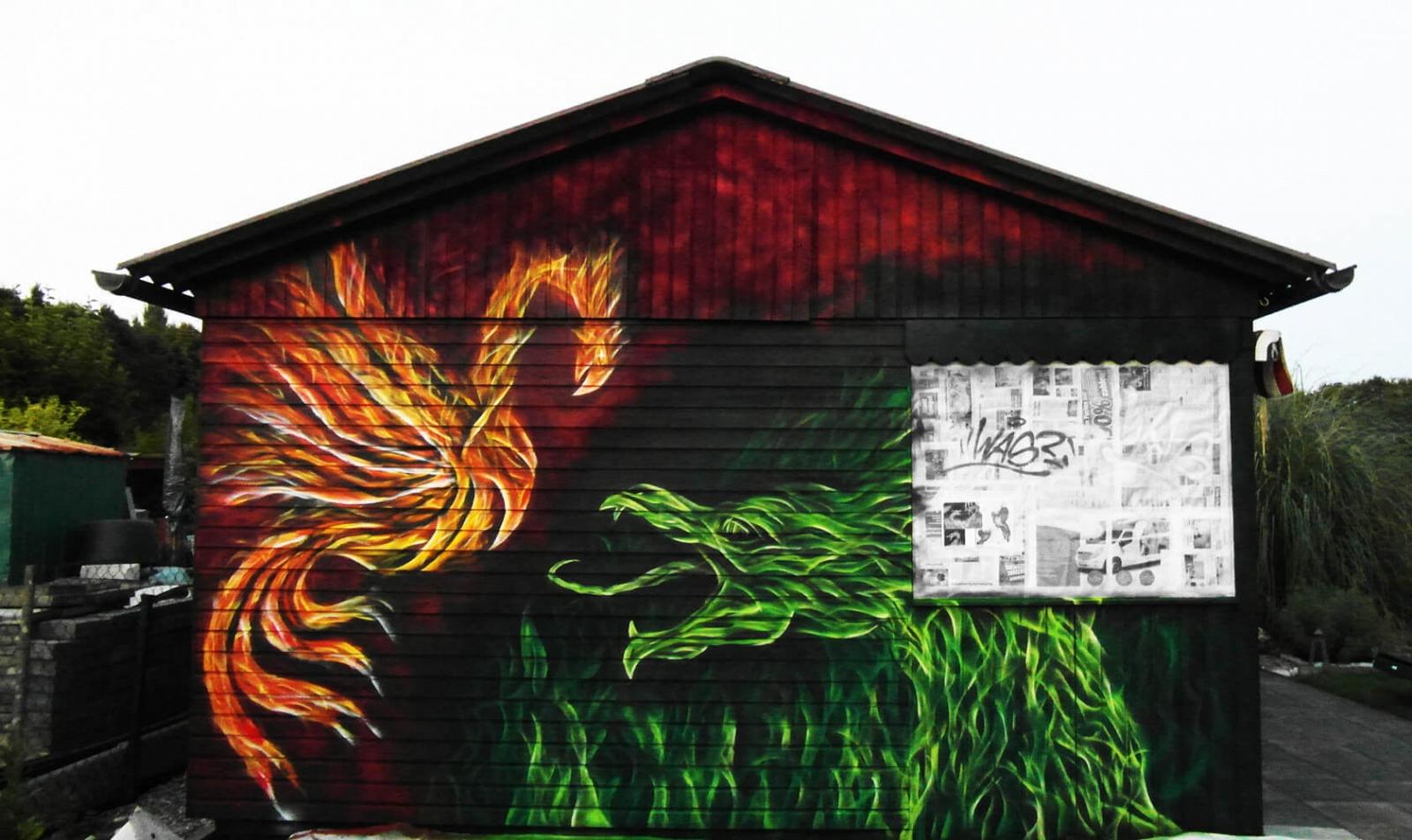 Phoenix und Drache Feuer Graffiti Gelsenkirchen-Heßler Kleingarten