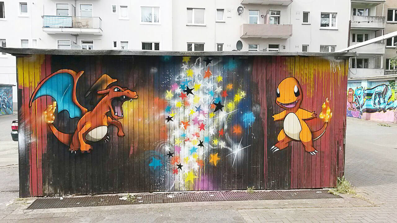 Pokemon Glurak Glumanda Graffiti Gelsenkirchen Sprüher