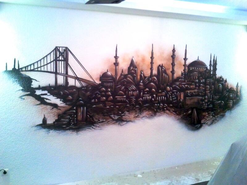 Istanbul Skyline Graffiti im Wohnzimmer