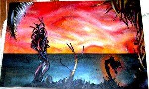 Sonnenuntergang mit Frau