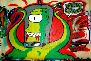 Graffiti Gelsenkirchen Simpsons Alien