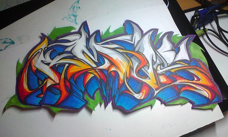 Graffiti mit Touchmarkern auf Papier Amos