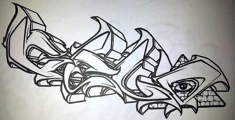 Graffiti auf Papier mit Stabilo Fineliner Geld
