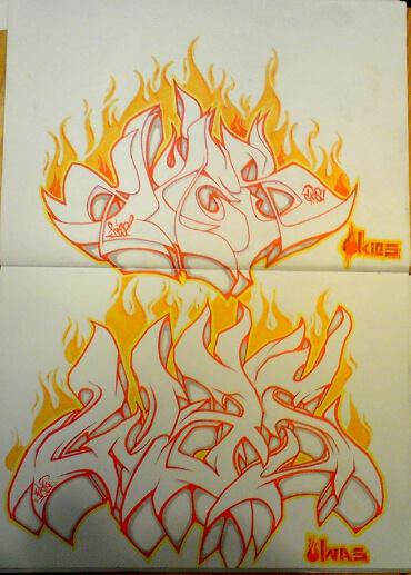 Graffiti im Blackbook Feuer mit Kies und Was