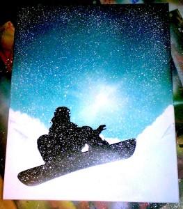 Snowborder auf Leinwand