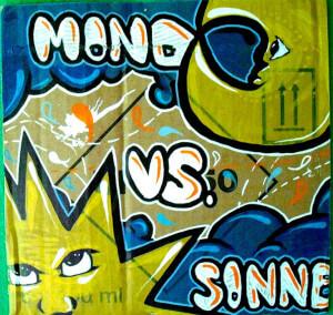 Graffiti Herne Sonne gegen Mond