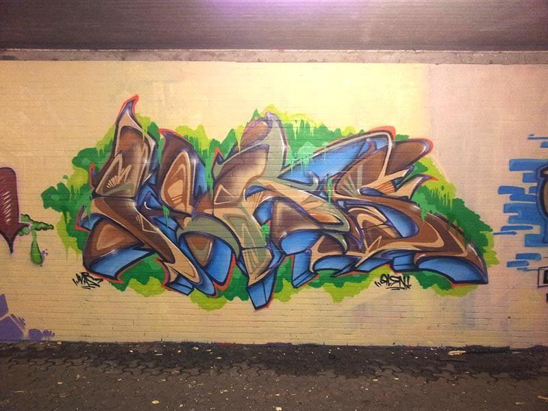 Graffiti in Bochum Markstraße an der U35 Haltestelle