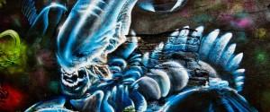 Graffiti in Gelsenkirchen Feldmark hinter der Tankstelle Alien