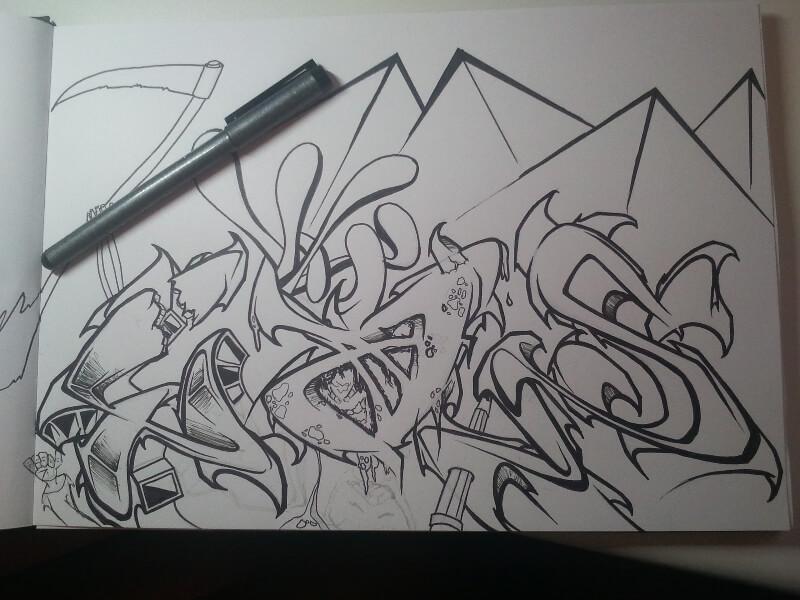 Graffiti mit Pyramiden, Ägypten, Wüste in schwarz weiß