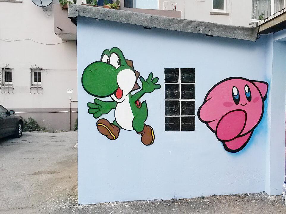 Yoshi Kirby Graffiti Gelsenkirchen